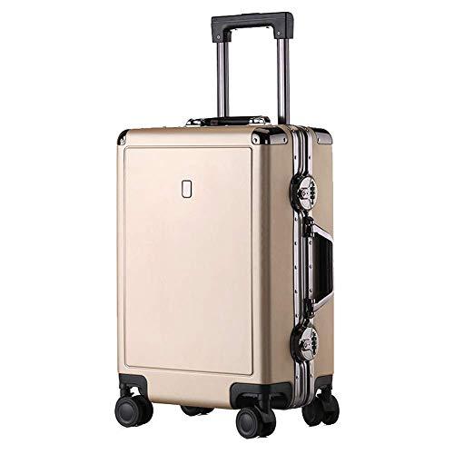 YUNY Koffer TSA Schloss und 4 drehbare Räder für Hartschalen Gepäck Leichtgewichtig Vintage Reisetrolley Koffer Gr. (61 cm) M, gold (Gold-koffer Vintage)