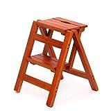 YJLGRYF Sgabello Scaletta Scaletta in legno Scaletta per uso domestico Pieghevole Scala a 2 gradini Multifunzione Sedia a scaletta Salita per interni, in legno massello Scala (colore : A)