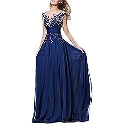 BoBoLily Vestiti Donna Eleganti da Sera Lunghi Vintage in Pizzo Strass Tulle  Abiti da Cerimonia Smanicato 1f2cc7d5d29