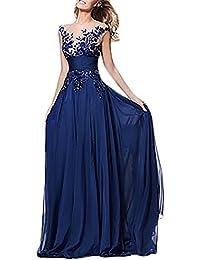Abiti da Cerimonia Donna Eleganti da Sera Lunghi Vintage in Pizzo Strass  Tulle Vestiti Smanicato Backless 6f33e2fcb32