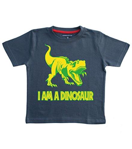Soy un dinosaurio–T-Rex diseño niños camiseta de algodón con un verde y amarillo impresión. Edward Sinclair camiseta, color azul marino azul Washed Navy 7-8 Años