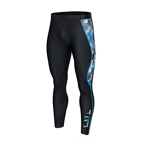 FIRM ABS Men's Cool Dry Compression Pants Tights Base Layer Leggings Best Running/ Workout (Abs-print Jersey)