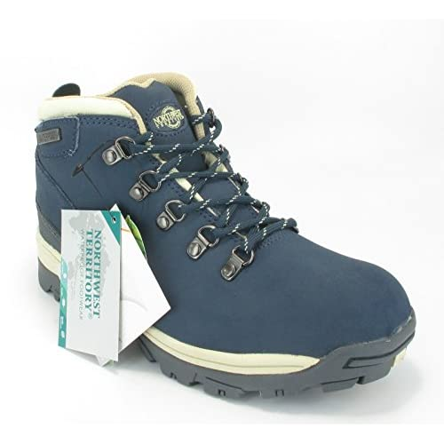 Northwest Trek Womens Waterproof Leather Lace Up Walking Hiking Boots