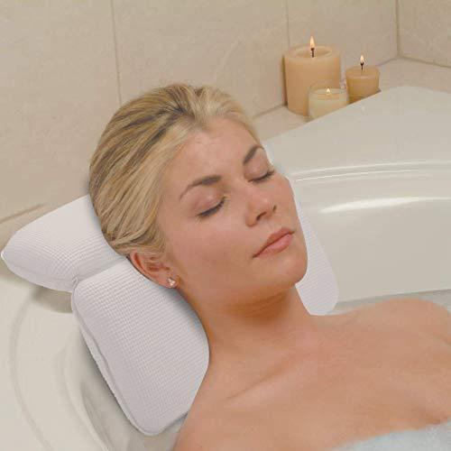 Badewannenkissen,Kapmore Nackenkissen Badewanne mit Saugnäpfen Kissen Badewanne für Spa und Bad(Weiß)