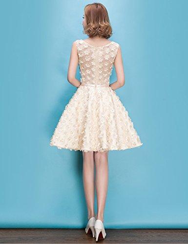 Lactraum LF4270 Brautjungfernkleid Ballkleid Abendkleid Abschlussball Kleider Hochzeitskleider Abiballkleid 3D-Blumen Champagner