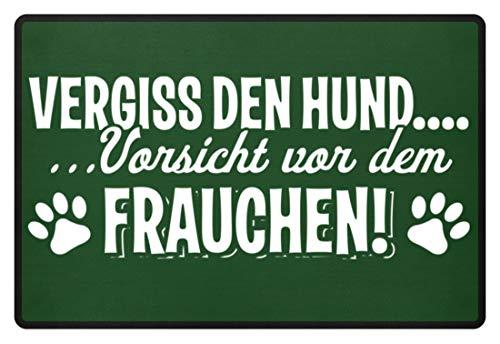 Chorchester Vorsicht vor dem Frauchen Hund Fußmatte - Fußmatte -60x40cm-Dunkelgrün