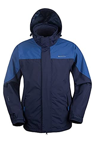 Mountain Warehouse Storm Mens 3 in 1 Breathable Taped Seams Fleece Adjustable Waterproof Jacket Cobalt Large