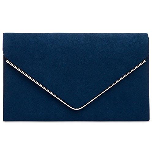 67ee5b3d37 CASPAR TA356 Donna Pochette in Velour con Catena, Colore:blu  scuro;Dimensioni: