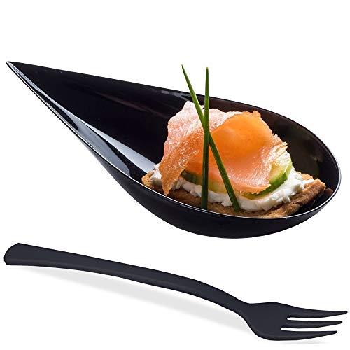 DLux Mini-Vorspeiseteller mit Gabeln, schwarzer Kunststoff-Löffel, Dessert- und Vorspeisenschalen, Servierteller, Einweg, asiatisches Löffel-Set, kleine Gastronomie, Dessert - Asiatische Löffel Kunststoff