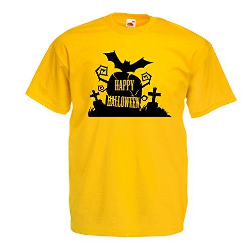 Männer T-Shirt Halloween Graveyard Outifts - Costume Ideas - Cool Horror Design (Medium Gelb (Maske 3 Halo)