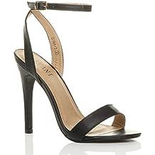 c01f4d8fa0128 Femmes Haute Talon fête à Peine là Boucle lanières Sandales Chaussures  Pointure