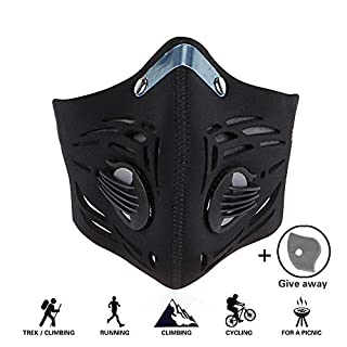 GoingMen Anti Pollution Dust Half Face Mask with 2 Activated Carbon Air Filters for Cycling Skiing Motorcycle Outdoor Sport - Black