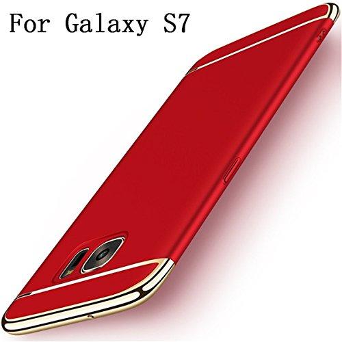 Galaxy S7S 7Schutzhülle superdünn Full Body Premium kratzfest Rutschhemmende Hart PC Kunststoff Schutz 3in 1Hartschale Handy Ultra mit galvanisiert Rahmen für Full Schutz Samsung Galaxy S7 rot Harte Slim Fit-fällen