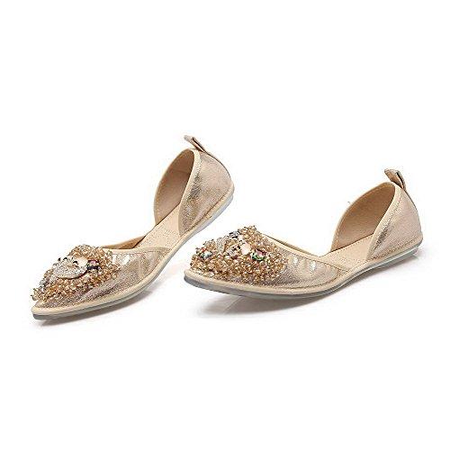 Auf Zehe Absatz Spitz Schuhe Pumps Golden Aalardom Damen Niedriger Schließen Rein Ziehen XwFtOt