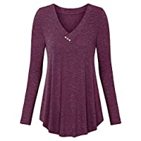 BeLuring Ladies Tunic Tops Pleated Long Sleeve T-Shirts Burgundy Size 16 18