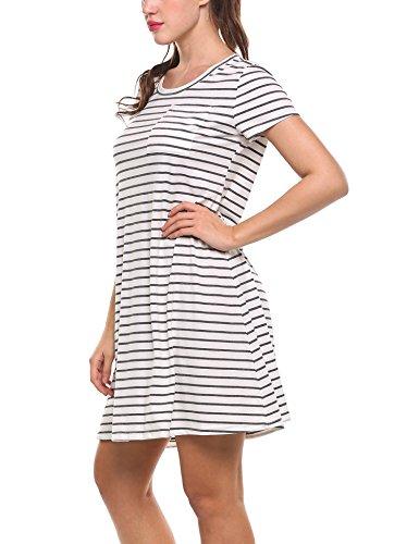 Zeagoo Damen Gestreiftes Kleid Rundhalsausschnitt A-Line Freizeitkleid Basic Blusenkleid kinelang Kurzarm Casual A-Line Grau