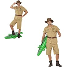 Fancy Dress Four Less Disfraz de hombre de safari para adultos, disfraz de frank Steve