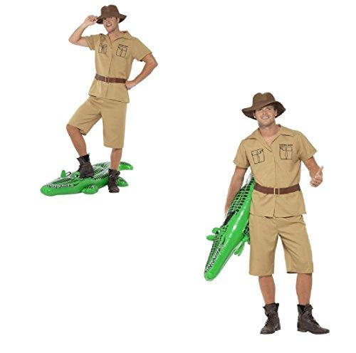 Fancy Dress Four Less Disfraz de hombre de safari para adultos, disfraz de frank Steve Irwin de cocodrilo Dundee África Australia Outback divertido carnaval Festival Stag Do