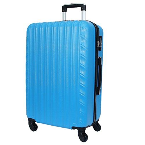 Reisekoffer QTC ZÜRICH Hartschale Trolley XL Reise Koffer Case (Azurblau)
