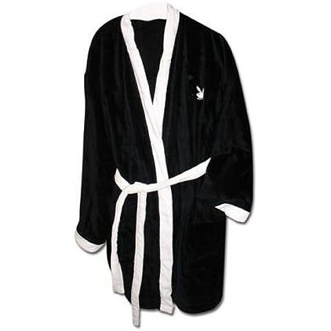Playboy Classic Kimono con cappuccio taglia L nero-bianco