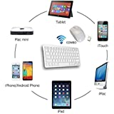 Sufi World ® Mini Wireless Bluetooth Keyboard & Optical Mouse Combo With Free Silicone Keyboard Cover For PC, Mac, Computer, Laptop, Notebook , IPad Air/Mini/2/3/4/iPhone 4/4S/5/5S/Google Nexus/Samsung Galaxy Tab/Galaxy Note (Pure Silky White)