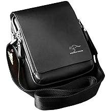 dc2649ae1d Pixnor Vera pelle PU autentico canguro Unito borsa a tracolla Messenger  borse taglia S nera maschile