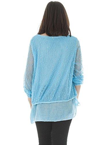 Love My Fashions Damen Italian 3 Teile Lagenlook Popcorn Netz Tunika Top Plus Größe Aqua Blau