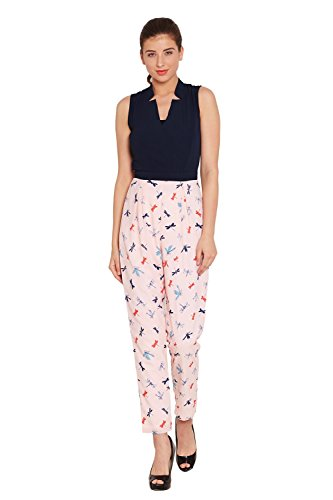 The Vanca Women's Front Overlapped Jumpsuit In Peach Print With Half Collar Band