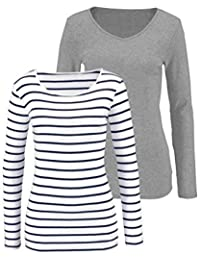 top nere it bianche Amazon righe bluse T Donna camicia e shirt wU0BqFI
