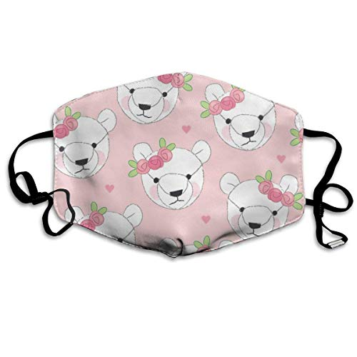 Teddybär-Gesichter-weiß-mit-Rosenknospen Wiederverwendbare Anti-Staub-Gesichtsmaske, staubdichte, atmungsaktive Außenmaske aus (Erwachsene Größe Teddybären)