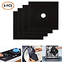 Rubik 4 pcs Gas Stove Burner Covers, Non-Stick Gas Range Protectors Reusable Aluminum Foil Cover Liner Mat Pad - Dishwasher Safe, Black
