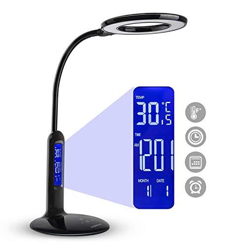 Aigostar Flexo 10KZO - Lámpara de escritorio LED 7W, táctil, 360lm. Pantalla LCD con calendario, temperatura, alarma. 5 Niveles de intensidad, 2 modos de iluminación luz blanca y cálida. Color negro
