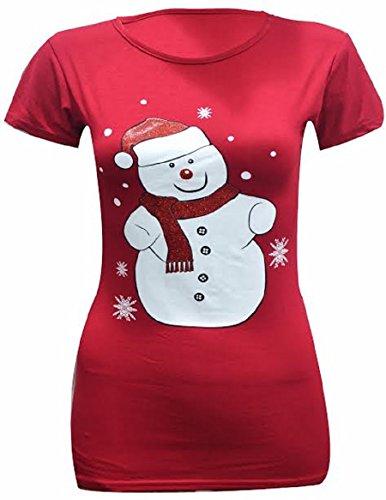 Generic Damen Tunika T-Shirt Red Snowman Glittered Hat