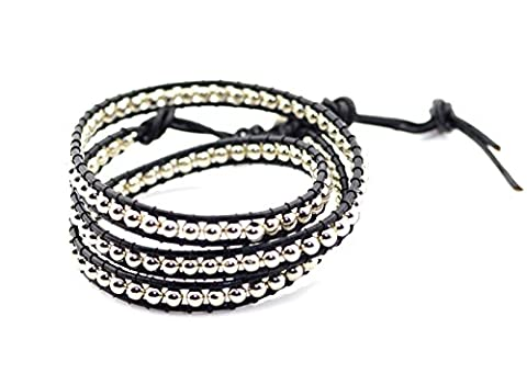 AB faceted 4mm glass beads 3 wrap bracelet real leather size adjustable Metal Beads