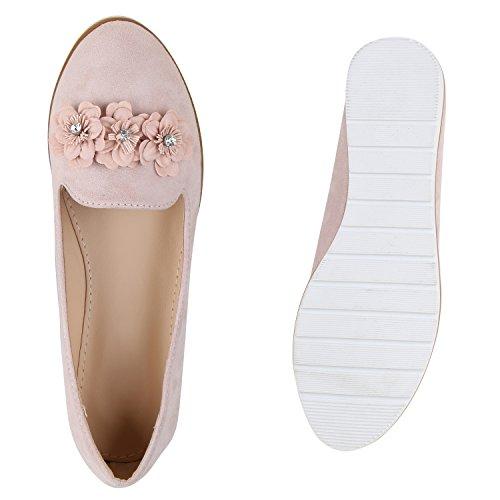 Damen Slipper Loafers Lack Metallic Schuhe Flats Profilsohle Rosa Blumen