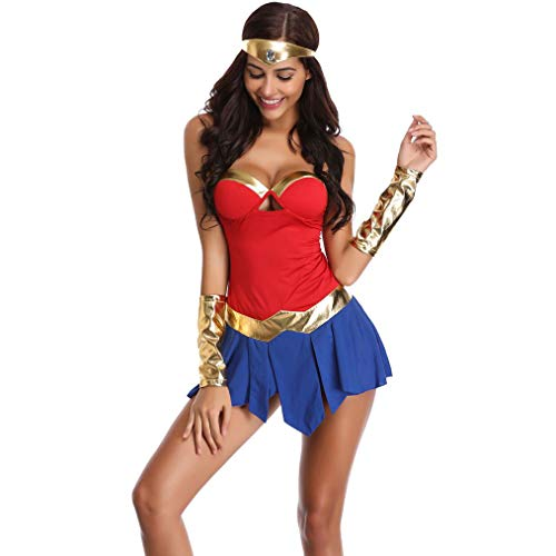 Story of life Damen Halloween Kostüme Sexy Cheerleading Damen Motorrad Kostüme Cosplay Wonder Woman Nightclub Bar Game - Wonder Red Kostüm