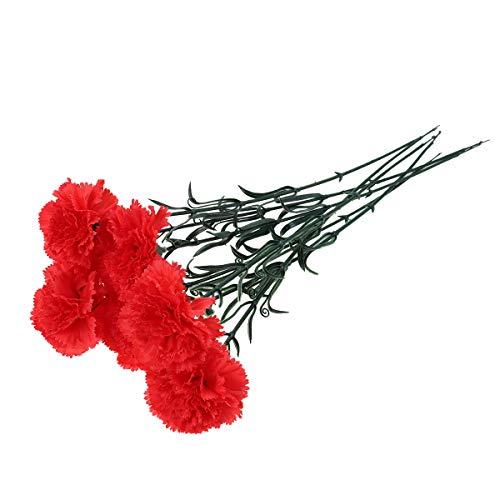 Amosfun fiori di garofani artificiali finti bouquet di carnagione di seta bouquet con steli per la festa della mamma decorazioni per la casa regali di nozze (rosso)