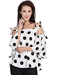 Falcon Womens' White American Crepe Printed Polka Dot Cold Shoulder Top