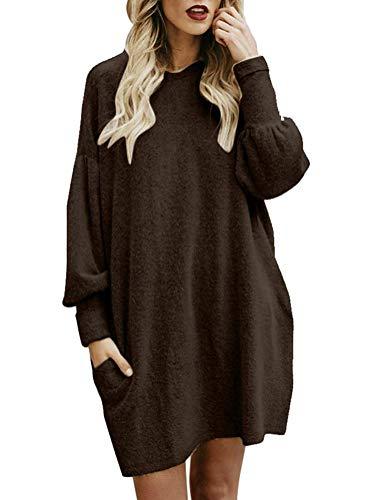 Minetom Femme Robe Pull Elégant Tricot Col Rond Manche Longue Mode Solide en Vrac Hiver Toison Mini Dress Chandail Robe Sweater Tunique Café FR 44