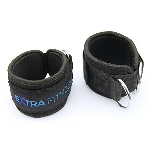 Zwei Fußschlaufen für Kabelzug, gepolstert – schwarz, mit starkem Klettverschluss auch für Damen – qualitativ hochwertig für professionellen Gebrauch im Fitnessstudio geeignet
