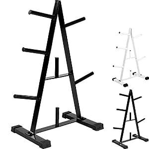MOVIT® Hantelscheibenständer, Farbwahl: schwarz oder weiß, bis 250 kg belastbar, 7 Stangen