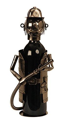 Moderner Wein Flaschenhalter Feuerwehrmann aus Metall Höhe 21 cm