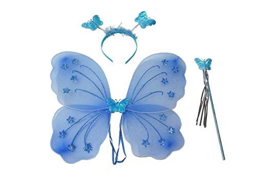 Feenkostüm mit Flügeln, Haarreif und Zauberstab - passt auch Erwachsenen (blau)