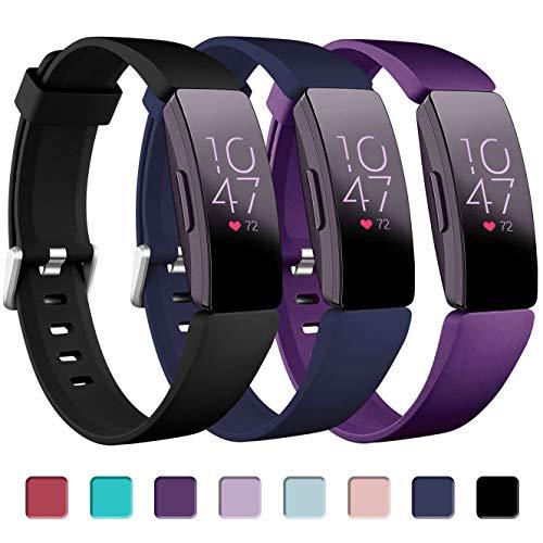 Zekapu Armband Kompatibel für Fitbit Inspire, Inspire HR & Ace 2, Wasserdichter weicher Sport Ersatz Armband, Klein Schwarz/Blau/Pflaume