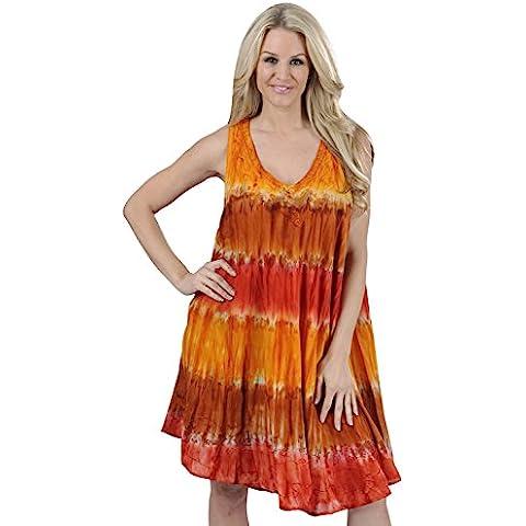 La Leela viscosa Salli Tie Dye bordado vestido corto ocasional cuello redondo encubrimiento