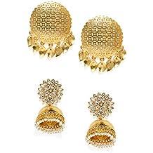 Zaveri Pearls Combo of 2 Gold Tone Traditional Earrings For Women-ZPFK7389