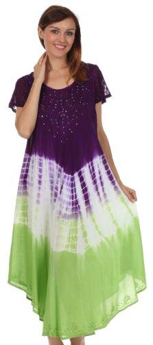 Sakkas Robe Caftan Multicolore Mancheron Tie Dye / Robe de plage Violet
