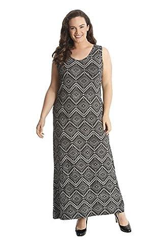 Ladies Plus Size Moroccan Tile Print Maxi Dress Black 26-28