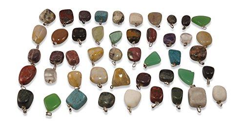 12 Stück Edelstein Anhänger Ketten-Anhänger Heilsteine Trommelsteine mit silberfarbene Öse ca.15-25mm mit u.a. Rosenquarz, African Jade, Tigerauge, Amethyst, Lapis-Lazuli,...