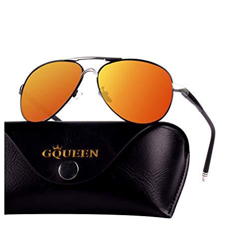GQUEEN Herren Premium Militär Stil Polarisierte Piloten Sonnenbrille UV400 Schutz Metall Rahmen mit Federscharnier GQ83